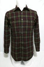 Pendleton Lodge Board Shirt Fitted Long Sleeve Red Gray Plaid Shirt Medium