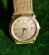 Vintage 30mm Hamilton Quartz Watch 8789, Taupe & Gold Tones, Working, New Strap