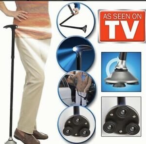 Bastón para caminar plegable con luz linterna de LED y altura ajustable