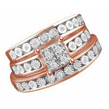 0.17 Ctte Round Shape Diamond Wedding Trio Band Ring Set 14K Rose Gold Over