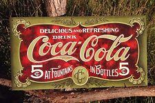 COKE Coca Cola Sign Tin Vintage Garage Bar Decor Old 1900s 5 Five Cents Fountain
