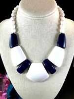 PERFECT SUMMER CRUISE WEAR CROWN TRIFARI NAVY BLUE WHITE LUCITE NECKLACE PENDANT