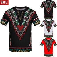 Men Fashion African Printed Vintage T Shirt Short Sleeve Casual Shirt Top Blouse