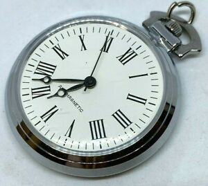 Vintage Classic Silver White Roman Dial Hand-Wind Mechanical Pocket Watch Hours