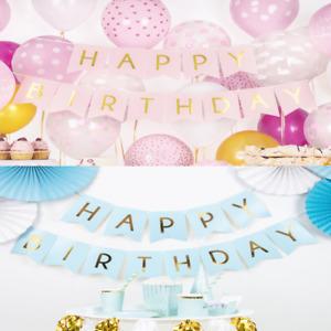 HAPPY BIRTHDAY BANNER - BLUE / PINK BIRTHDAY BANNER