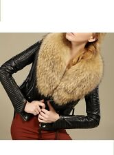 Women's 100 % Lamb w/Removable Real Raccoon Fur Leather Jacket !