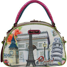 Nicole Lee Europe Print Bowler Bag - Europe Satchel NEW