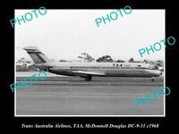 OLD HISTORIC AVIATION PHOTO OF TAA TRANS AUSTRALIA AIRLINES DOUGLAS DC-9 1968