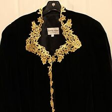 Nah Nah Collections by Jonathan Tait Womens Top Sz 18W Black Velvet Gold Trim