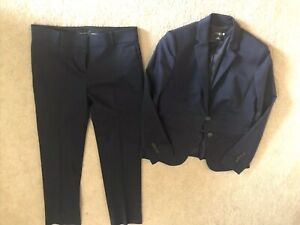 Ann Taylor Navy Cotton Sateen Pant Suit Size 4P