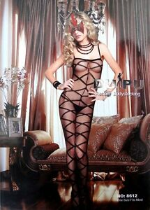 Sexy Black Spagetti Crotchless Criss Cross Body Stocking One Size 8612 6-10