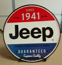 JEEP SIGN CJ7 J10 XJ METAL RED WHITE & BLUE JEEP Wrangler Wagoneer Cherokee FSJ