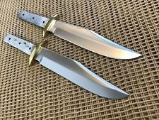 Lot of 2 Stainless Steel Bowie Knife Making Supplies Blanks With Brass Guards