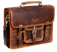 """Men's brown Leather Shoulder Bag Messenger Briefcase 15"""" Laptop Business Satchel"""