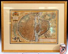 Old Antique Lithograph Engraving Map of Paris French Munster 16th C City Framed