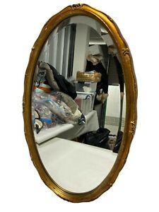 "Antique Vintage Gold Framed Bevelled Oval Wall Mirror - 28""x17"" (71cm x 43cm)"