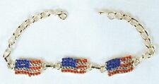 12 AMERICAN FLAG JEWEL TRIPLE  FLAGS BRACELETS mens womens bracelet jewellry new