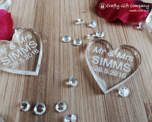 Personalised CLEAR LOVE HEART Mr & Mrs Wedding Favour Table Decorations
