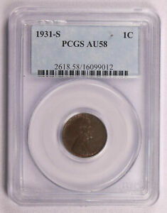 1931-S WHEAT LINCOLN CENT PENNY COIN PCGS AU58