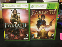 2 Game Lot Fable II and III Complete CIB 3 Xbox 360 Game Tested