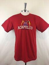 Acapulco Pacific Coast Mens T-shirt Made in Mexico Red Size M