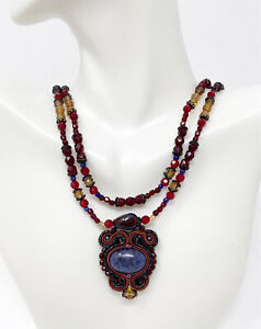 Artisan Double Strand Glass Bead And Sodalite Stone Ornate Pendant Necklace