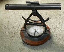 Functional Antique Replica Surveying Telescope with Wood Base. Estate Fresh.