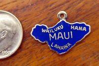 Vintage silver MAUI HAWAII HAWAIIAN ISLAND MAP WAILUKU HANA ENAMEL charm RARE