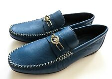 STEFANO RICCI Blue Grain Leather with Silver Eagle Shoes Size 11 US 44 EU 10 UK
