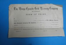 Australia 1890s The Wonga Cyanide Gold Recovery Proxy Form Share Script Scarce