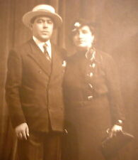 Gentleman w/Straw Boater Or Skimmer Hat & Lady w/Down Town Flapper Hat Photo