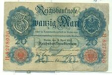 OLD GERMAN REICHSBANKNOTE 20 MARK 1914