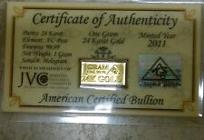 Certificate included ( 1 ) GRAM ACB 24K GOLD SOLID BULLION MINTED BAR 99.99 FINE