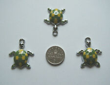 3  green and yellow enamel turtle charms