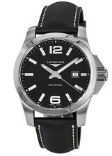 New Longines Conquest Quartz Black Dial Black Leather Men's Watch L3.760.4.56.3