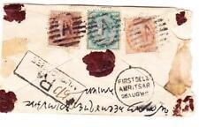 India Postal Envelope-HG:B4-uprated SG#60,#85,#62-MUSSOOREE-REGISTERED