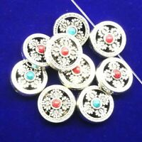 10Pcs Carved Tibetan Silver Red&Blue Turquoise Round Pendant Bead 20x9mm LL76-21