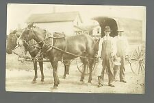 RP c1910 MILK WAGON Milkman MILK CANS Delivery Dairy CLOSE UP Street Scene