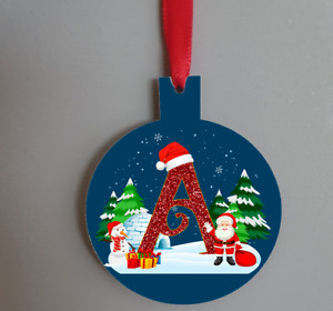 Wooden initial bauble hanging decoration