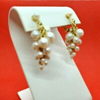 Earrings Clip on Faux Pearl Hanging Cluster Grape Gold Tone Screw back Vintage