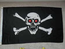 NEW IN PKG 3' X 5' JOLLY ROGER RED EYES PIRATE FLAG