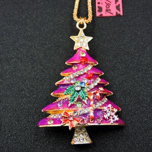 Hot Rose Enamel Crystal 3D Christmas Tree Star Betsey Johnson Pendant Necklace