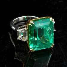 4.70 ct Emerald Sapphire Green White Diamond Engagement Ring 925 Sterling Silver