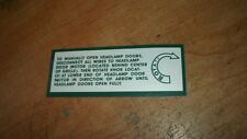 1971 1972 DODGE CHARGER HIDDEN HEADLIGHT OPERATION INSTRUCTIONS DECAL STICKER