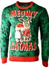 Men's MEOWY CHRISTMAS Crazy Cats Holiday Party Ugly Xmas Sweater Sz L A931