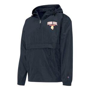 Champion NCAA Ferris State Bulldogs Men's Black Half Zip Windbreaker Jacket
