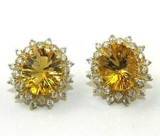 Natural Oval Citrine & Diamond Halo Stud Lady's Earrings 14K Yellow Gold 9.06Ct