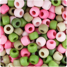 500 Pink Camouflage Matte 9x6mm Barrel Pony Beads USA Made by The Beadery