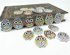25pcs Cartoon Wooden buttons bowknot owl Mixed color Sewing Scrapbooking 25mm