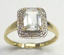 SYJEWELLERY 9CT YELLOW GOLD OCTAGON AQUAMARINE & DIAMOND RING    SIZE N     R968
